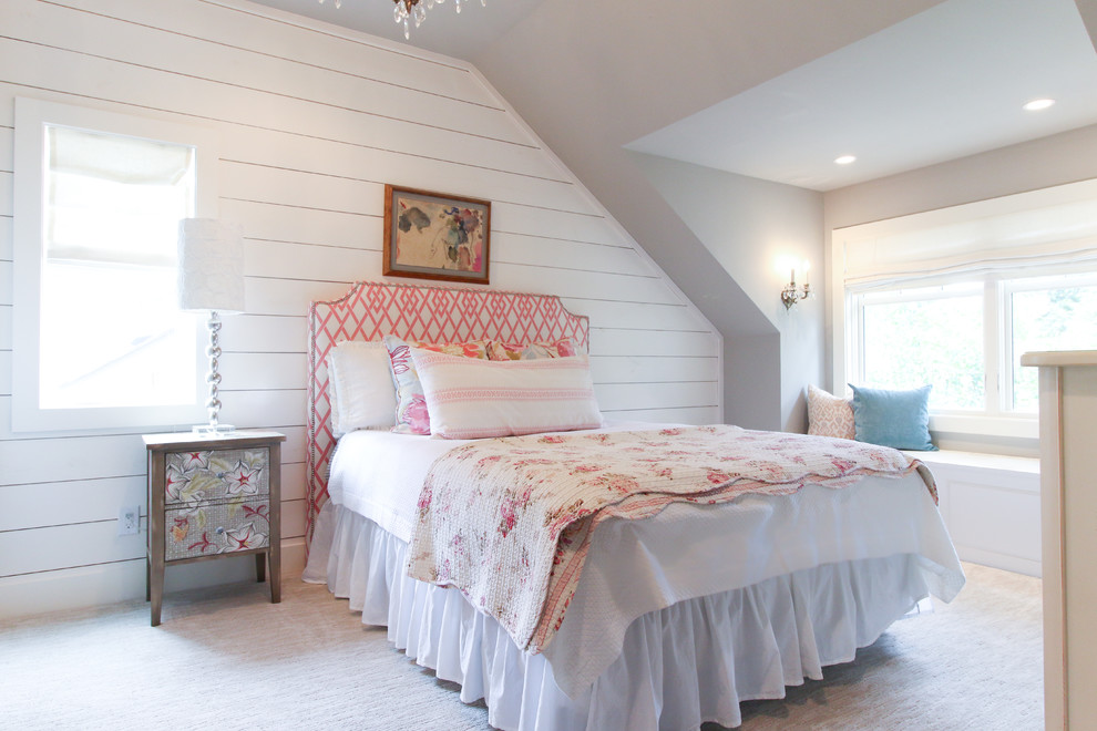 Example of a cottage chic bedroom design in Other
