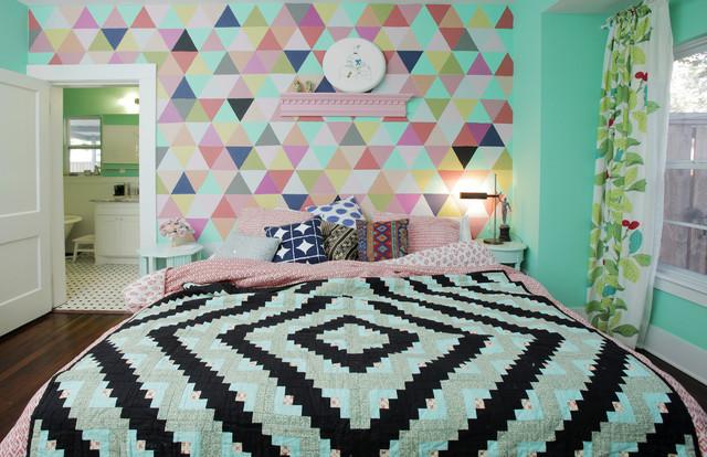 卧室-彩色-背景墙装修效果图
