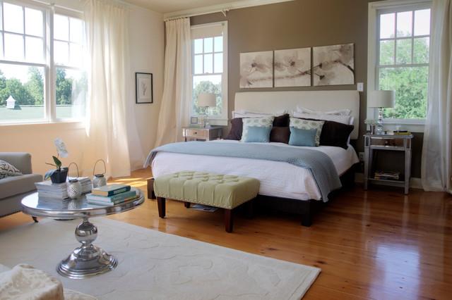 Farmhouse Medium Tone Wood Floor Bedroom Idea In Raleigh With Gray Walls