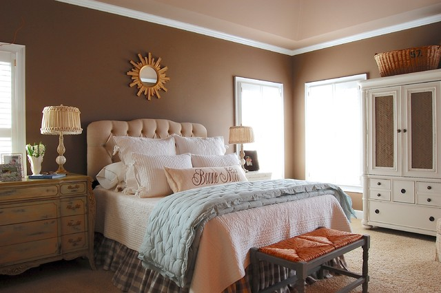 My houzz french country meets southern farmhouse style in for Southern style bedroom