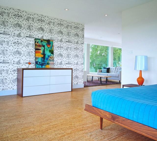 Trendy cork floor bedroom photo in Toronto with multicolored walls