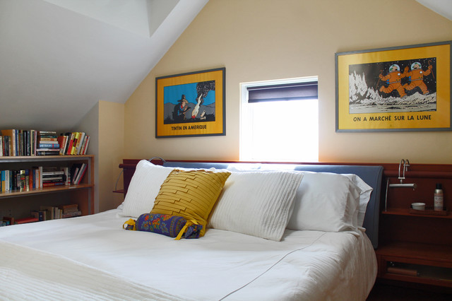 My Houzz: Rockstar vibe meets New England dream home eclectic-bedroom