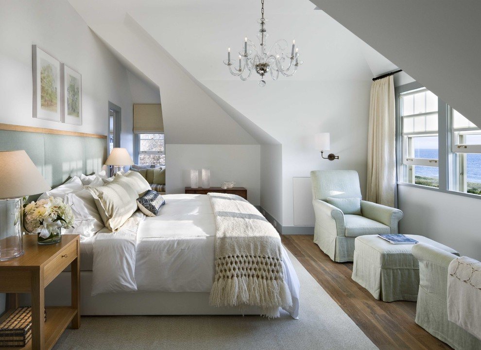 Inspiration for a mid-sized beach style master dark wood floor bedroom remodel in Boston with white walls