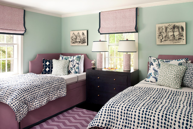 Inspiration For A Beach Style Bedroom Remodel In Boston With Green Walls