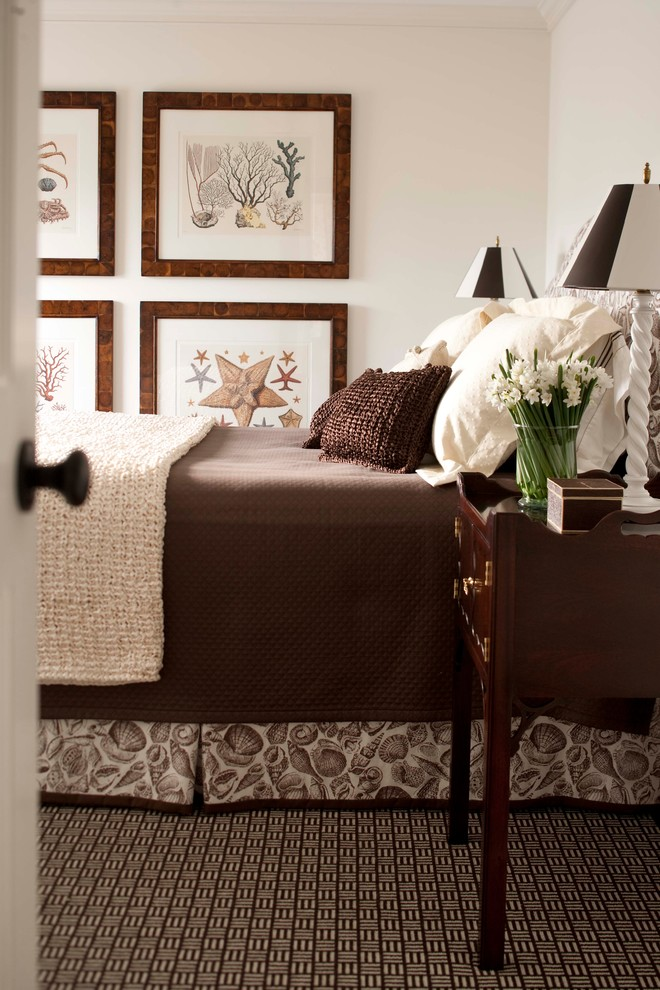 Inspiration for a mid-sized coastal master carpeted bedroom remodel in Boston with white walls and no fireplace