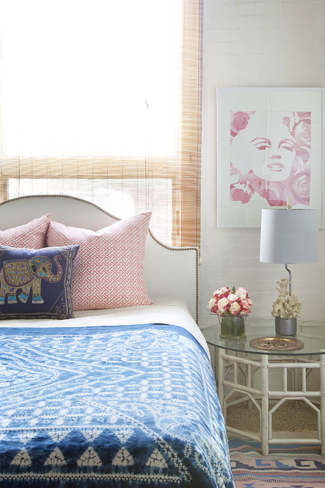 Eclectic carpeted bedroom photo in Philadelphia with white walls