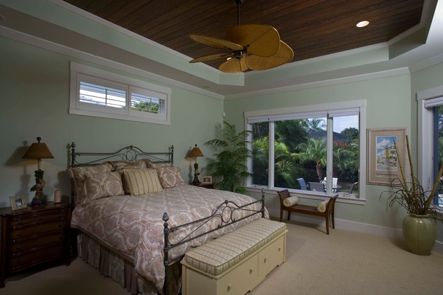 Naples Old Florida Beach Home tropical-bedroom