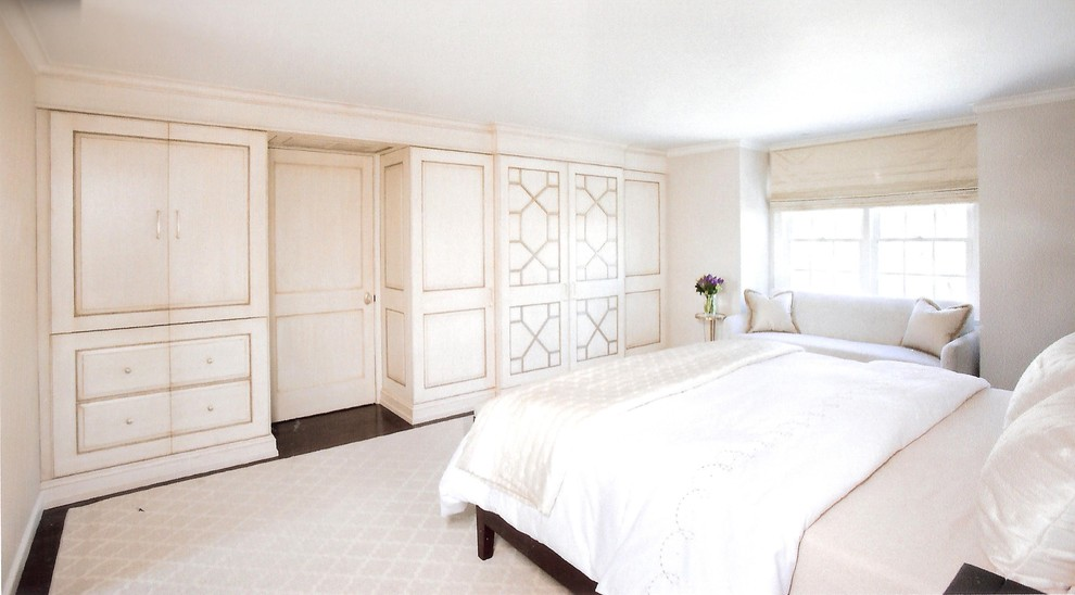 Example of a large minimalist master dark wood floor bedroom design in Boston with white walls and no fireplace
