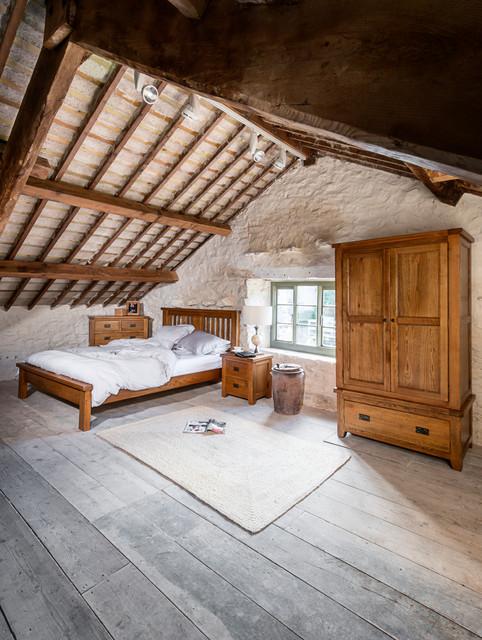 Natural Rustic Oak Attic Bedroom Rustic Bedroom