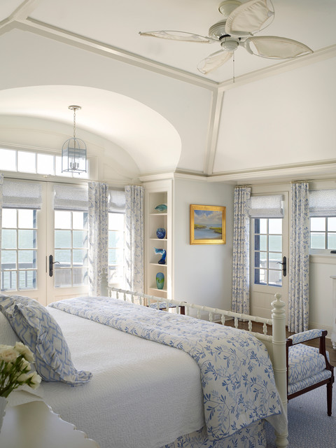 Nautical house on the bay hamptons beach style bedroom new york by austin patterson Beach house master bedroom ideas