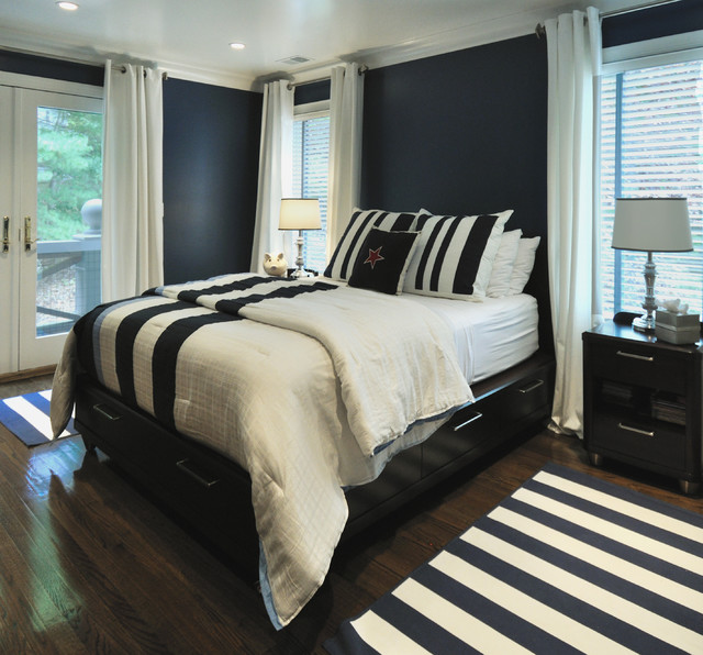 Navy And White Bedroom Contemporary Bedroom Miami