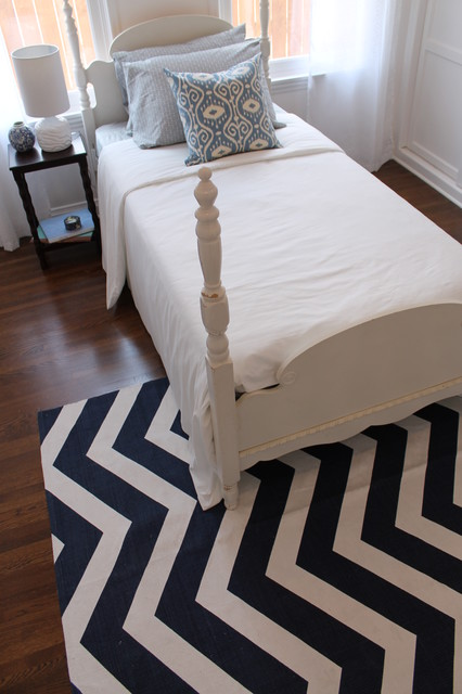Navy Chevron Rug And Four Poster Bed Traditional