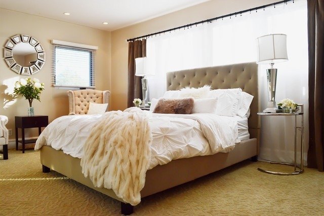 Neutral Bedroom With Tufted Bed Chairs And Mirrored