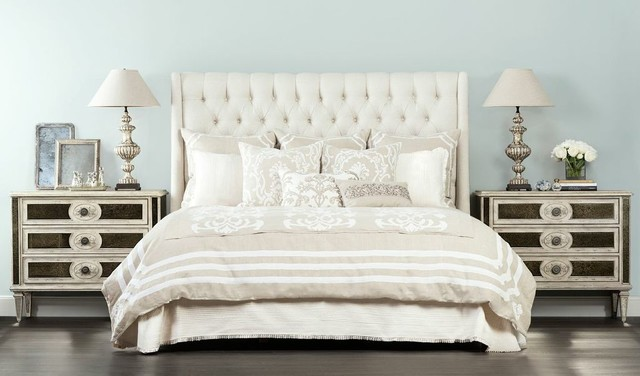 neutral wonder amelia tall king bed traditional bedroom