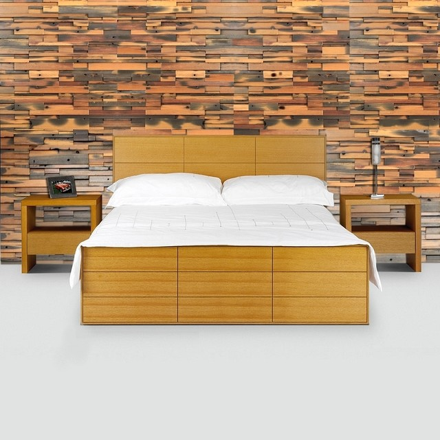 New Bedroom Wall - Reclaimed Mosaic Wood Tiles - Modern ...