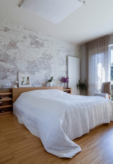 Bedroom - transitional medium tone wood floor bedroom idea in Other with white walls