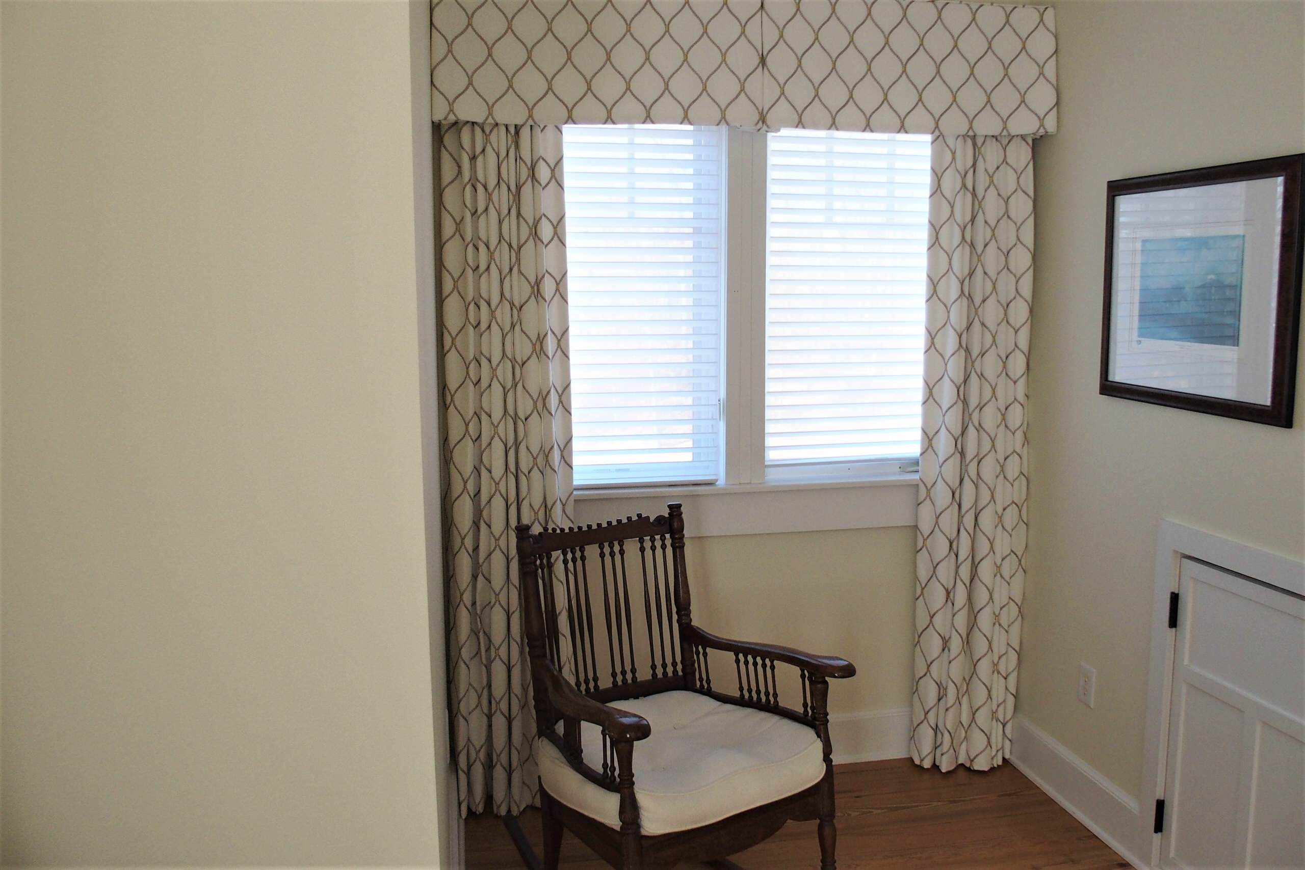New draperies and box pleat valances in a guest bedroom