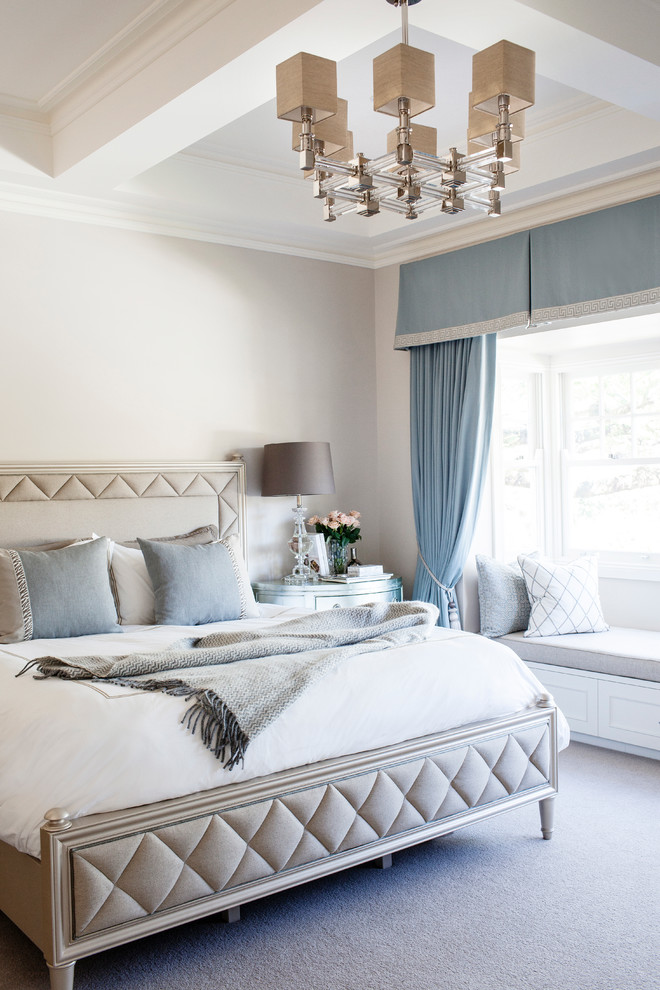Bedroom - mid-sized transitional carpeted bedroom idea in Brisbane with white walls