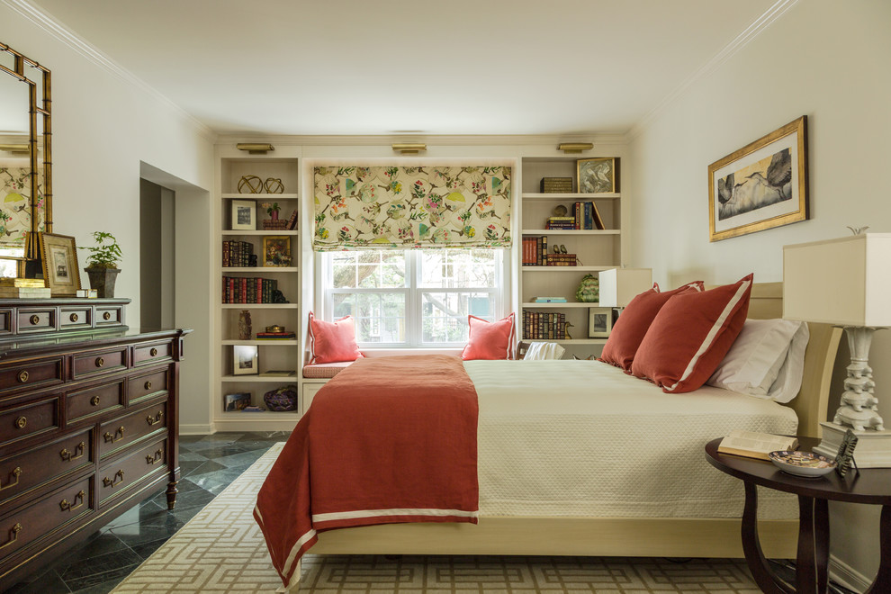 Bedroom - mid-sized traditional master ceramic tile and black floor bedroom idea in New Orleans with white walls and no fireplace