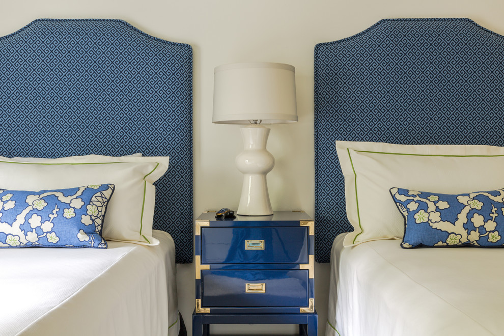 Inspiration for a mid-sized transitional guest carpeted and white floor bedroom remodel in New Orleans with white walls and no fireplace
