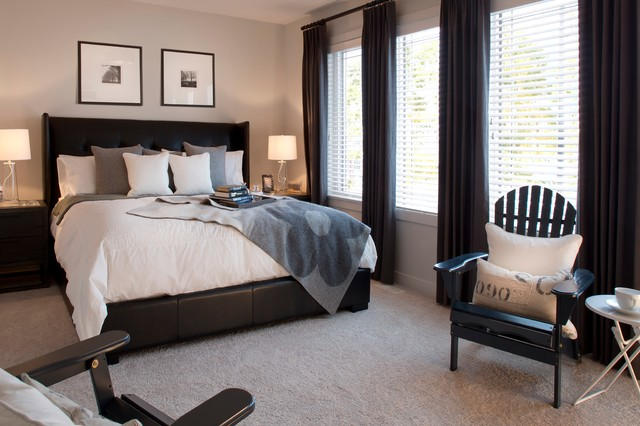 Attractive Elegant Carpeted And Gray Floor Bedroom Photo In Edmonton With Gray Walls