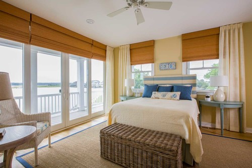 custom linen curtains beachside bedroom