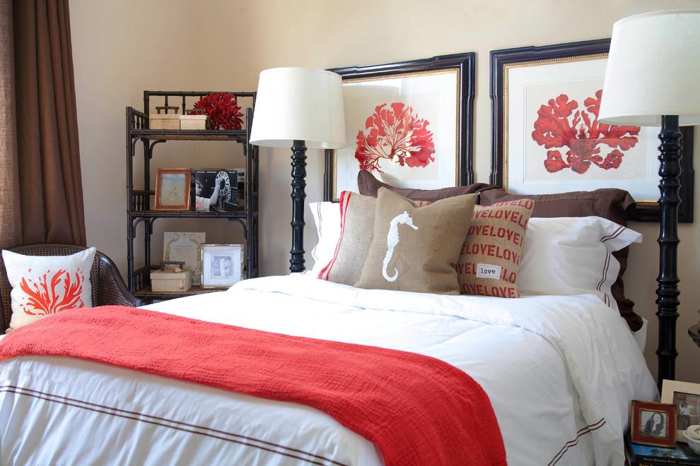Bedroom - coastal bedroom idea in Orange County with beige walls
