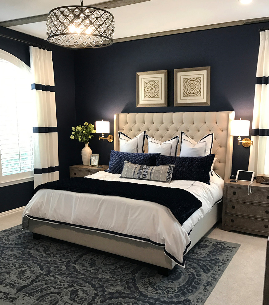 Inspiration for a large contemporary master carpeted and gray floor bedroom remodel in Dallas with blue walls, a standard fireplace and a stone fireplace