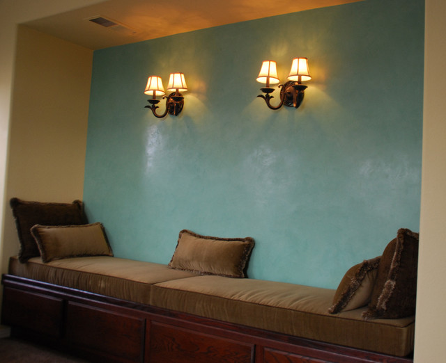 Niche Seating Area With Storage Venetian Plaster Accent