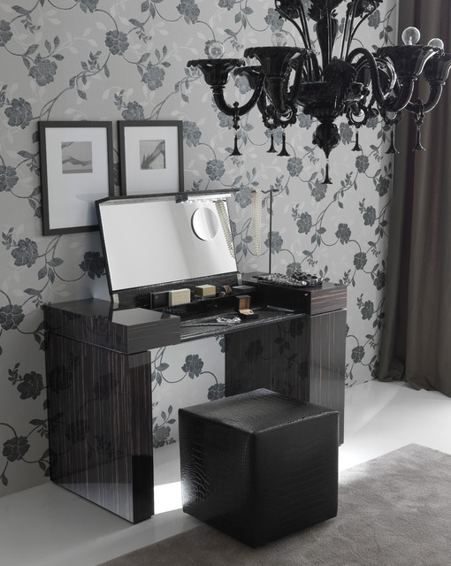 nightfly ebony makeup vanity by rossetto modern bedroom