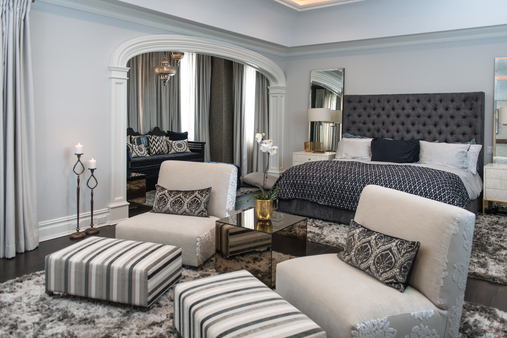 Design ideas for a traditional bedroom in New York with grey walls and dark hardwood flooring.