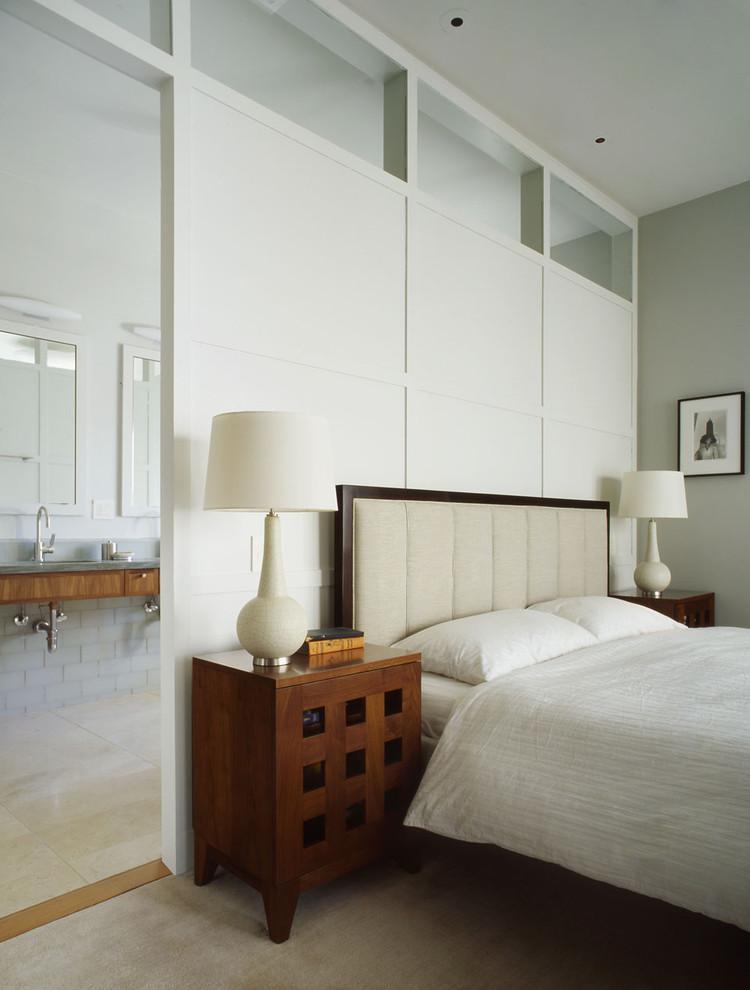 Elegant bedroom photo in San Francisco with gray walls