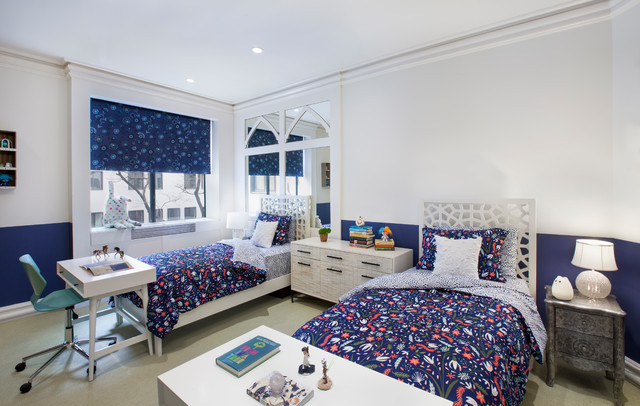 Large minimalist carpeted and white floor bedroom photo in New York with blue walls and no fireplace