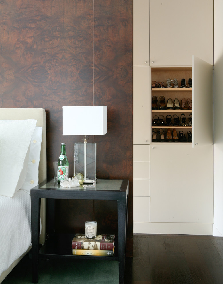 Inspiration for a contemporary dark wood floor bedroom remodel in New York