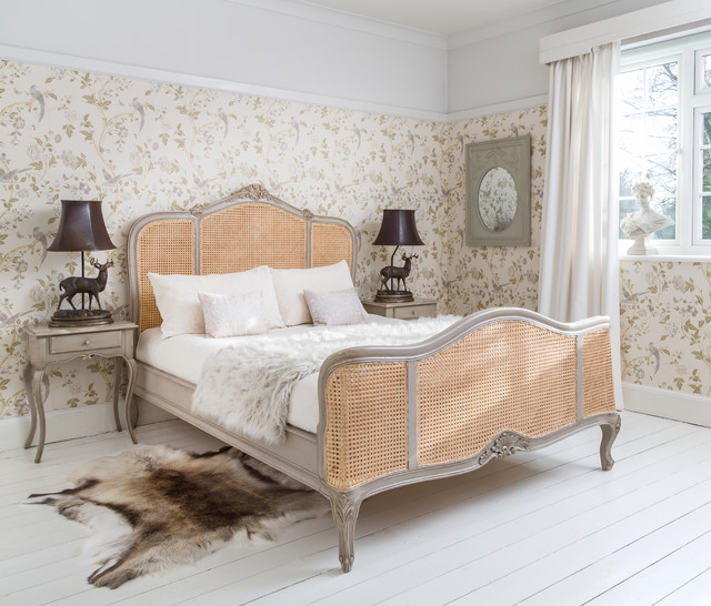 Normandy Rattan Painted Luxury French Bed - Traditional ...