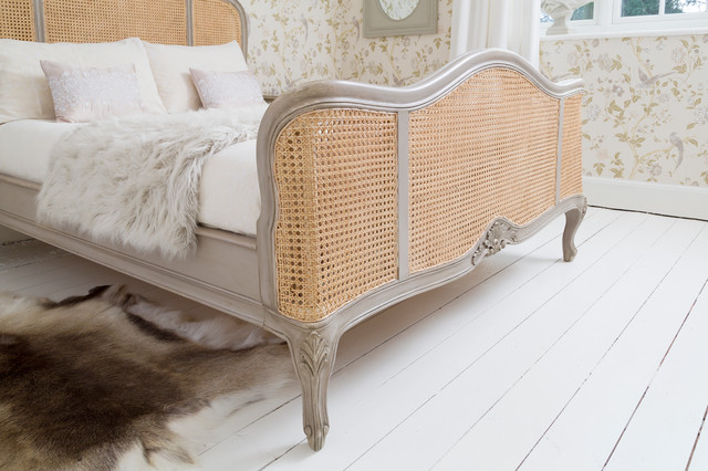 Normandy Rattan Painted Luxury French Bed Traditional