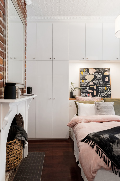 Bed headboard with the Overhead Wall Unit