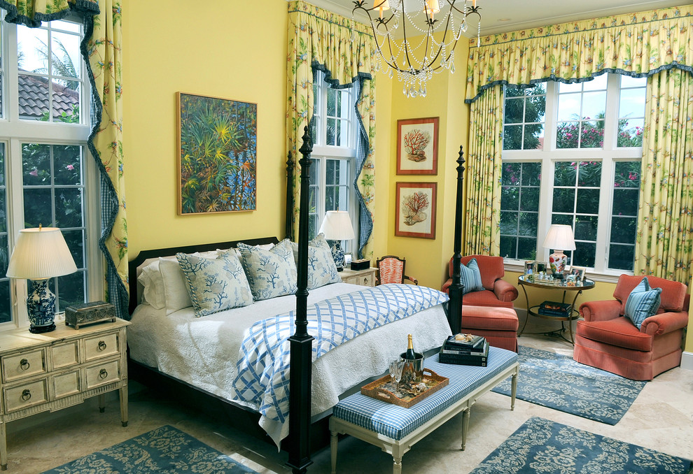 Bedroom - mid-sized traditional guest carpeted and beige floor bedroom idea in Miami with yellow walls