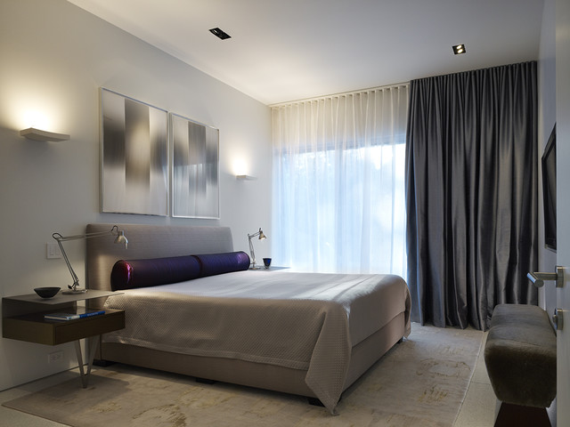 blackout bedroom curtains. Contemporary bedroom idea in Chicago with gray walls Blackout Curtains  Houzz