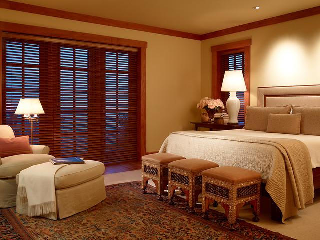 Bedroom Window Blinds Ideas Part - 29: Elegant Master Bedroom Photo In San Francisco With Beige Walls