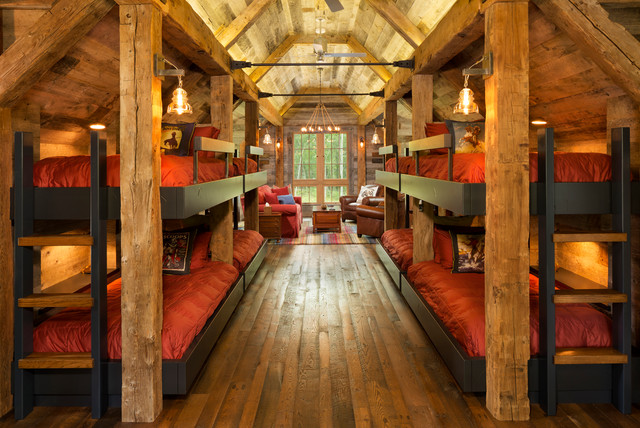 Northern Wisconsin Bunk House Rustic Bedroom