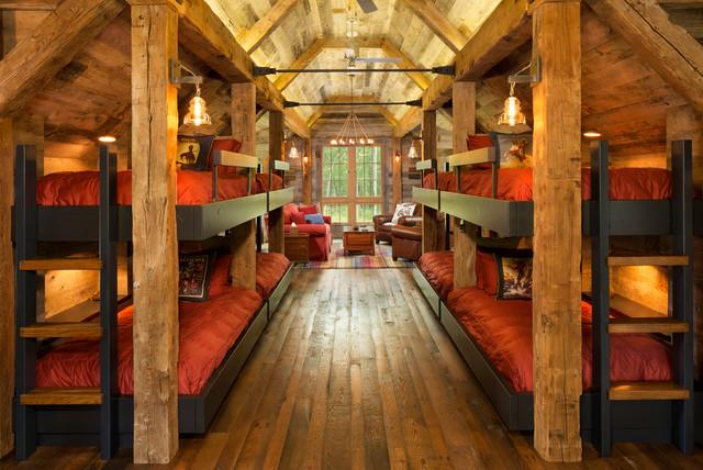Northern wisconsin bunk house rustic bedroom