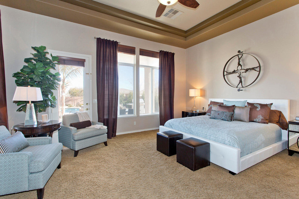 Inspiration for a timeless master carpeted bedroom remodel in Las Vegas with beige walls and no fireplace