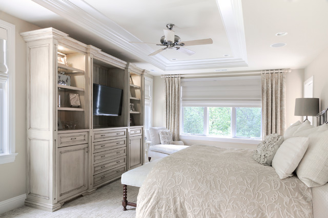 Inspiration for a timeless bedroom remodel in Chicago with beige walls Bedroom Wall Unit  Houzz