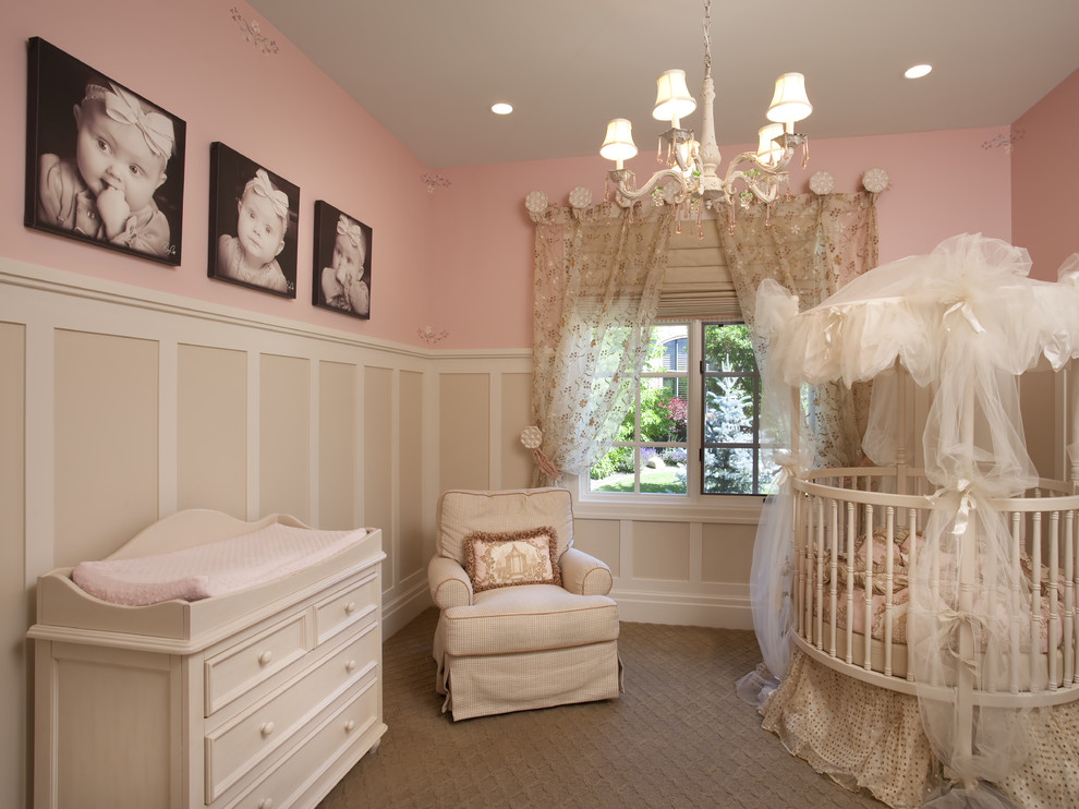Mid-sized elegant guest carpeted and beige floor bedroom photo in Salt Lake City with pink walls