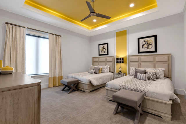 Bedroom - large modern guest carpeted bedroom idea in Orlando with yellow walls and no fireplace