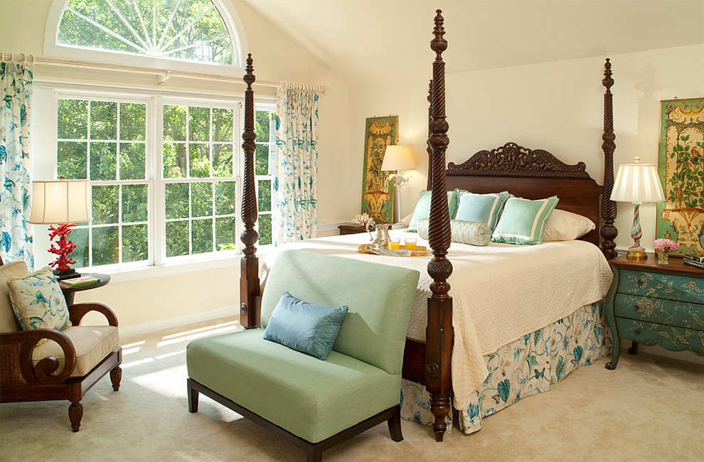 Example of a classic carpeted bedroom design in DC Metro with beige walls and no fireplace