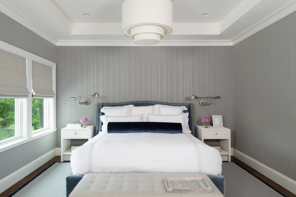Bedroom - transitional master dark wood floor bedroom idea in New York with gray walls and no fireplace