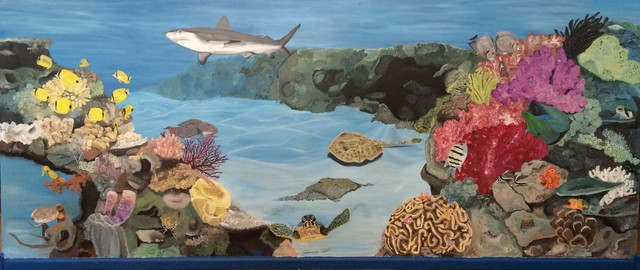 Ocean coral reef mural focal wall bedroom chicago for Coral reef mural