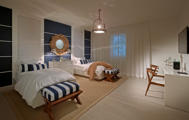 Ocean house beach style bedroom miami by interiors for Ocean themed interior design